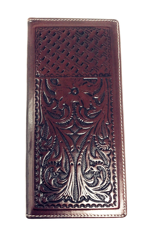Premium Western Genuine Woven Leather Floral Embroidered Mens Bifold Wallet