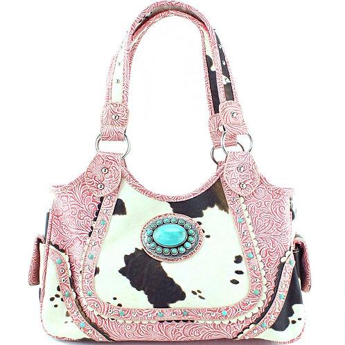 Premium Rhinestone Green Agate Concho Cow Skin PU Leather Womens Handbag