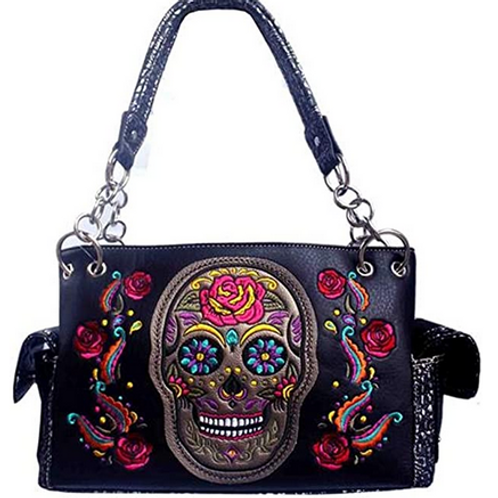 Western Women's Artistic Flora Embroidery Skull Concealed Carry Handbag