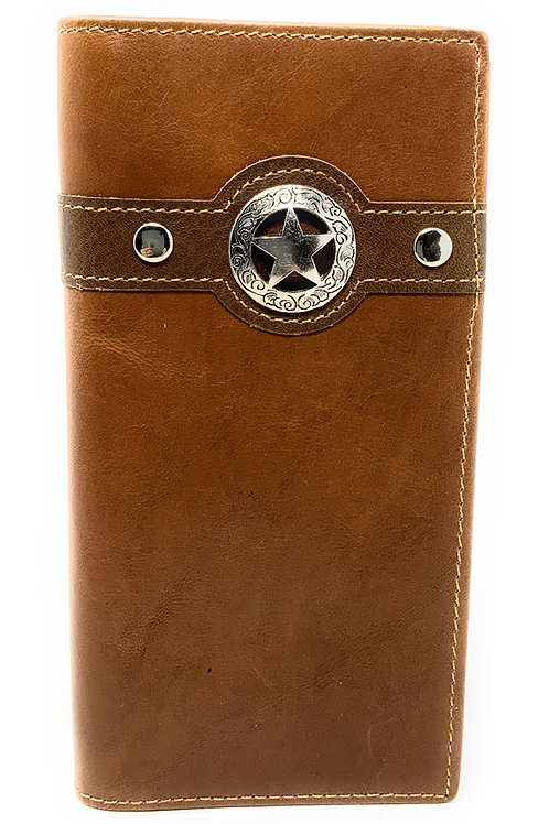 Texas Western Men's Genuine Leather Lone Star Bifold Long Wallet in 3 Colors
