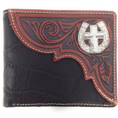 Premium Genuine Leather Mens Cross Short Bifold Wallet In 2 Colors