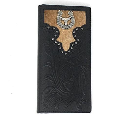 Texas West Men's Cow Fur Genuine Leather Basketweave Bifold Wallet in Multi Embl