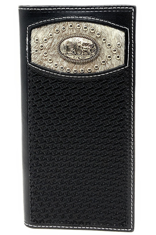 Men's Basketweave Genuine Leather Praying Cowboy Long Cowhide Stud Bifold Wallet