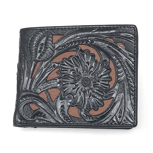 Western Genuine Leather Laser Cut Floral Men's Bifold Short Wallet in 6 Colors