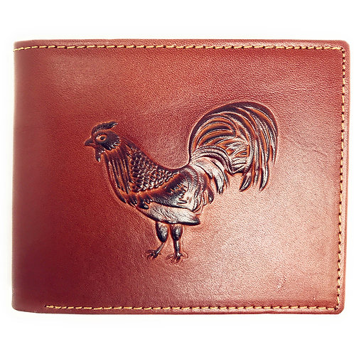 Western Genuine Leather Rooster Plain Mens Bifold Short Wallet in 2 Color