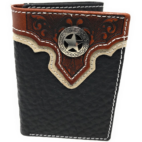 Western Tooled Genuine Leather Star Men's Short Trifold Wallet in 2 colors