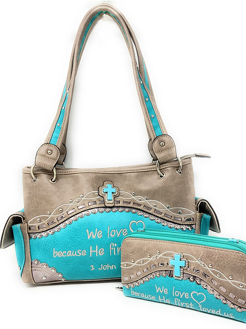 Texas West Embroidery Scripture Concealed Carry Bible Verse Handbag Wallet Set