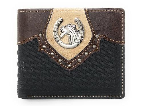 Western Genuine Leather Cowhide Cow Fur Horse Basketweave Bifold Short Wallet