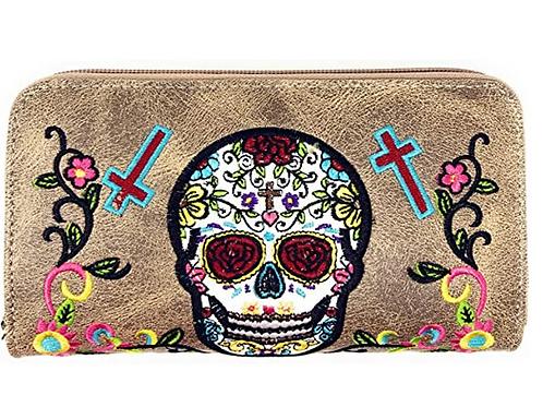 Western Sugar Skull Womens Embroidery Flora Cross Double Zipper Wallet
