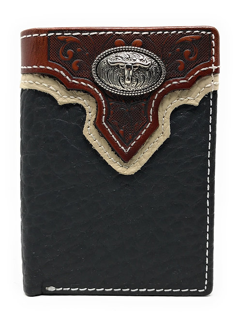Western Tooled Genuine LeatherLonghorn Men's Short Trifold Wallet in 2 colors