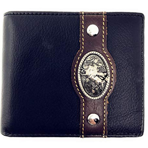 Western Genuine Leather Mens Metal Concho Rodeo Bifold Short Wallet