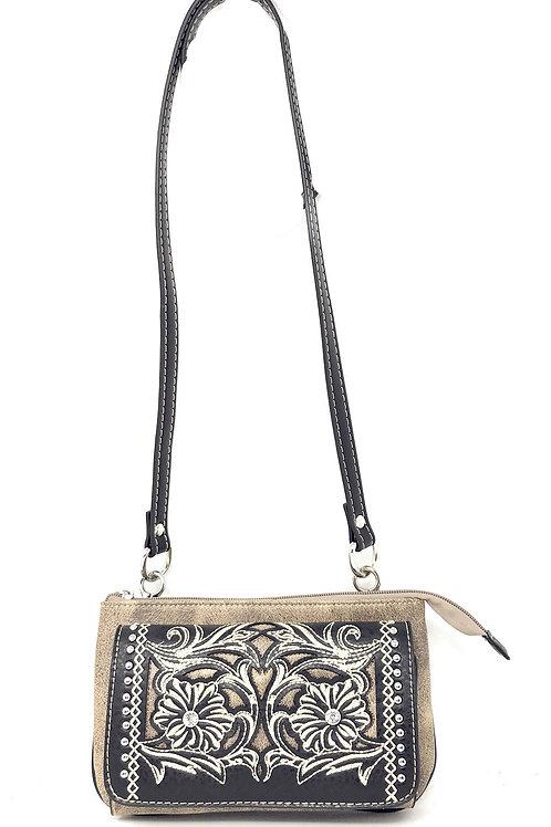 Western Rhinestone Flora Embroidery Laser Cut Wallet Cross Body Clutch Bag Purse