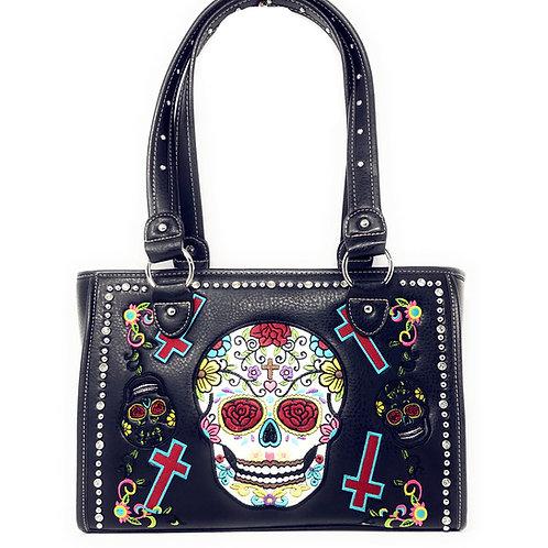 Western Sugar Skull Womens Embroidery Cross Rhinestone Concealed Carry Handbag