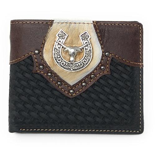 Western Genuine Leather Cow Fur Longhorn Basketweave Mens Bifold Short Wallet