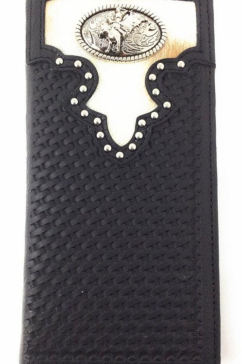 Cow Fur Genuine Leather Basketweave Rodeo Mens Bifold Wallet In Black