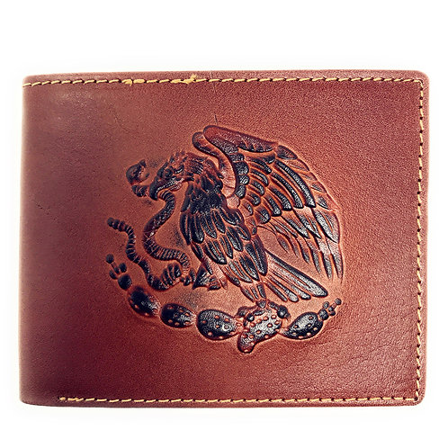 Western Genuine Leather Eagle Plain Mens Bifold Short Wallet in 2 Color