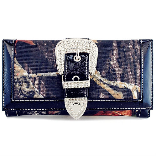 Camouflage Rhinestone Buckle Women's Western Clip Wallet With Extra Checkbook