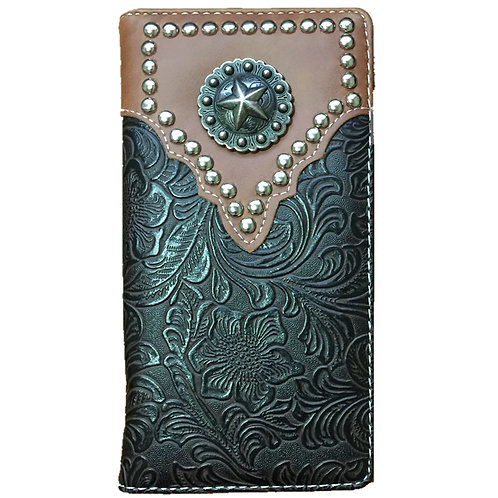 2015 Lone Star Men's Concho Tooled Leather Bifold Wallet, Extra Check. Coffee