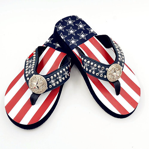 Premium Western Rhinestone Texas State/American Flag Flip Flops