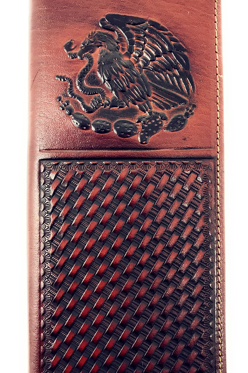 Western Mens Embossed Basketweave Cowboy Brown Long Wallet in Multi Emblem