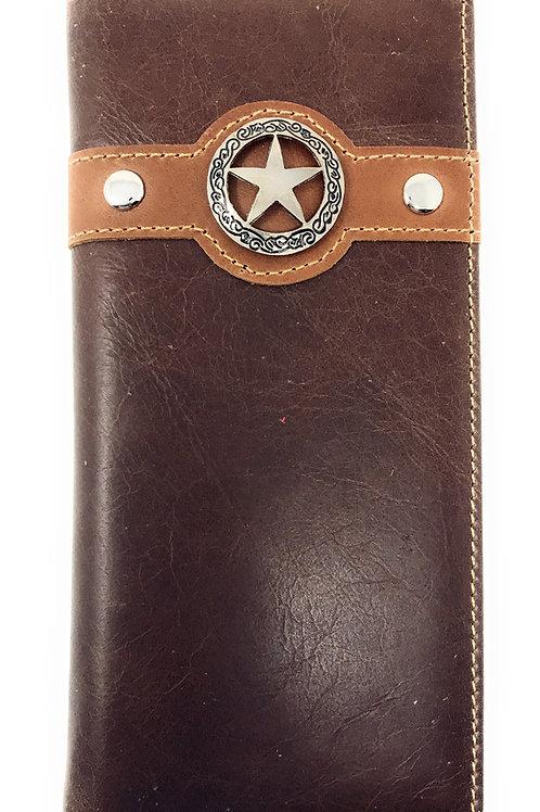Western Mens Metal Lone Star Cowboy Genuine Leather Long Bifold Wallet