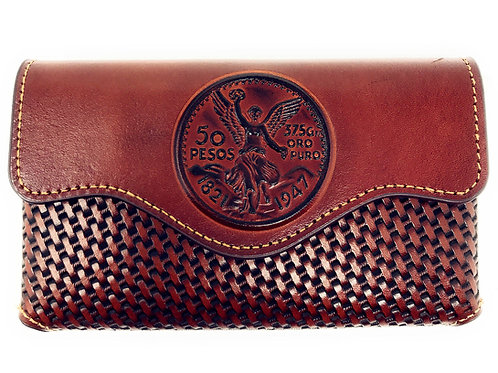 Western Cowboy Horizontal Basketweave Leather Mexican 50 Pesos Cellphone Case