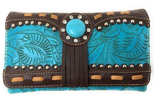 Rhinestone Concho Floral Laser Cut Crossbody Small Pouch Wallet