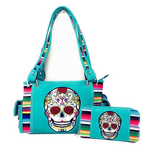 Texas West Western Sugar Skull Rainbow Concealed Carry Handbag / Matching Wallet