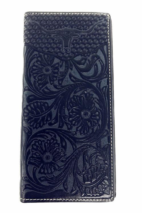 Premium Western Genuine Woven Leather Flora Embroider Longhorn Men Bifold Wallet