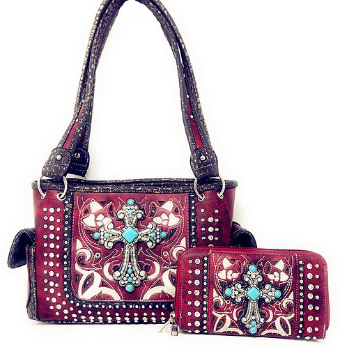 Laser Cut Premium Rhinestone Cross Western Embroidered Concealed Carry Handbag/