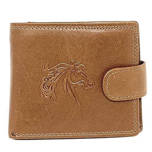 Texas West Genuine Plain Leather Men's RFID Short Bifold Buckle Wallet in 2 colo