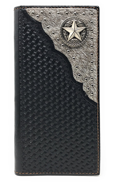Western Genuine Leather Cowhide Cow fur Basketweave Star Men Long Bifold Wallet