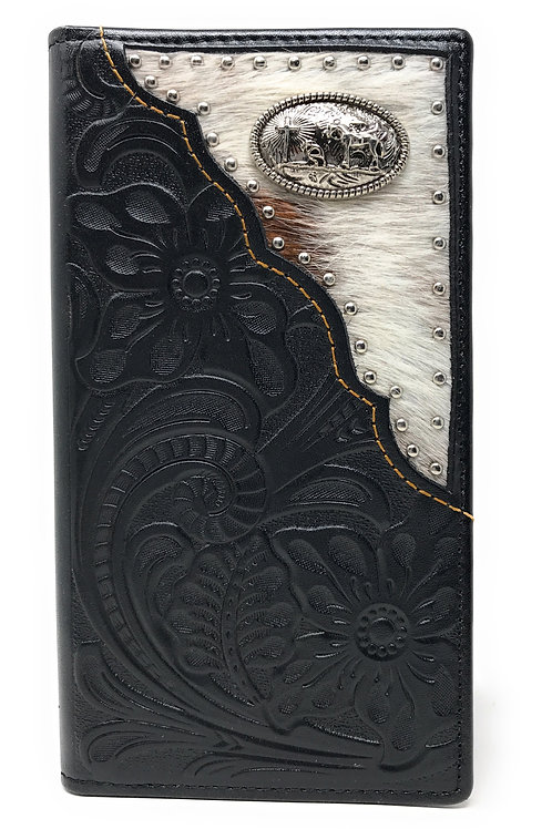 Western Tooled Genuine Leather Cowhide Cow fur Praying Cowboy Men's Long Bifold