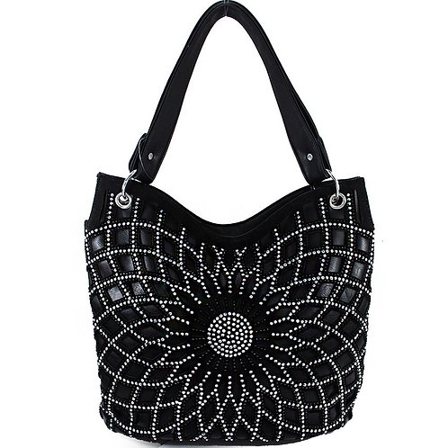 Rhinestone Bling Bling Bag with Shining Flower Design in Multi Colors