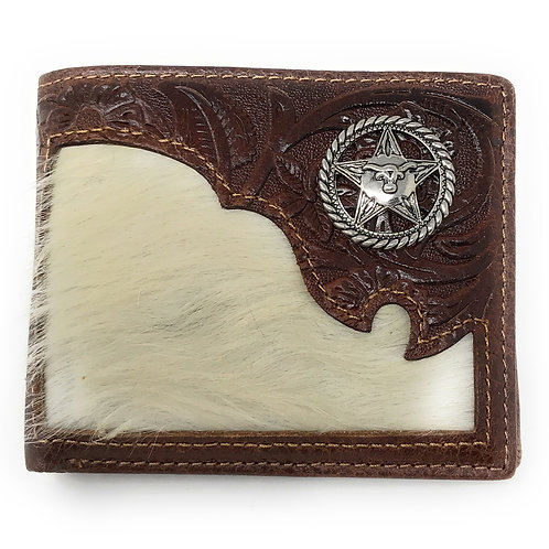 Western Genuine Tooled Leather Cowhide Cow Fur Star Mens Bifold Short Wallet