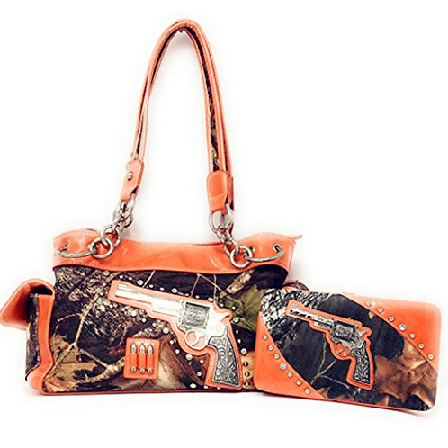 Premium Western Camo Pistol Gun Bullets Rhinestone Handbags and Matching Wallet