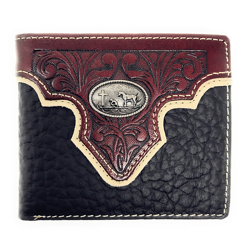Western Genuine Leather Floral Tooled Longhorn Concho Mens Short Bifold Wallet