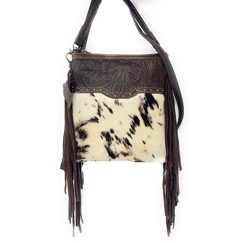 Western Genuine Leather Cowhide Fur Fringe Floral Tooled Womens Crossbody Bag