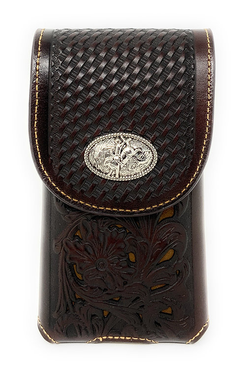 WesternTooled Floral Leather Rodeo Concho Belt Loop Cell Phone Holster