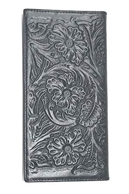 Premium Genuine Leather Floral Tooled Laser Cut Woven Men's Long Bifold Wallet