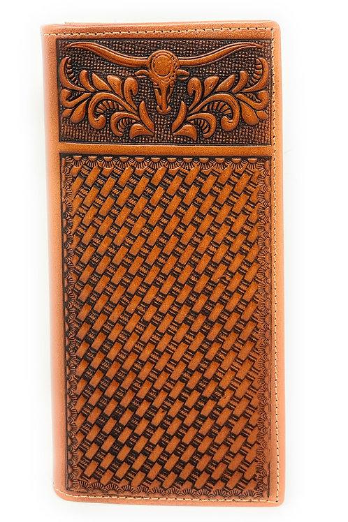Western Genuine Leather Basketweave Floral Tooled Longhorn Long Bifold Wallet
