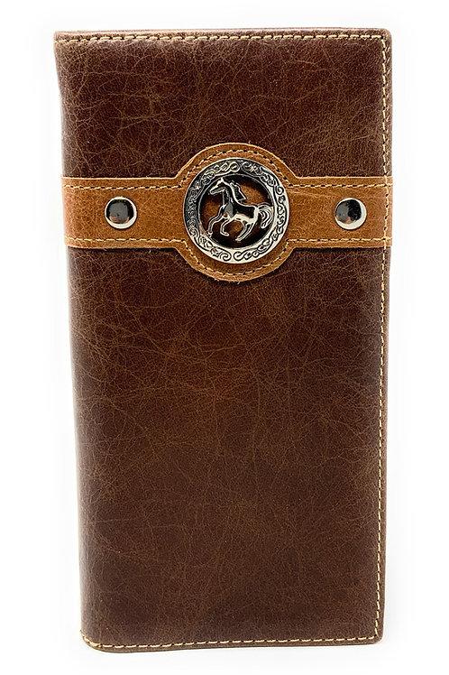 Texas Western Men's Genuine Leather Horse Bifold Long Wallet