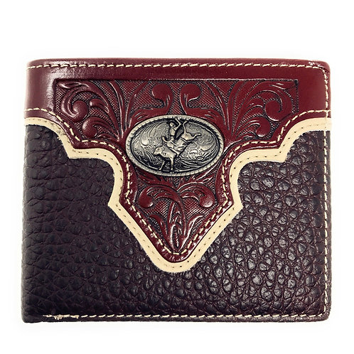 Western Genuine Leather Floral Tooled Rodeo Concho Mens Short Bifold Wallet