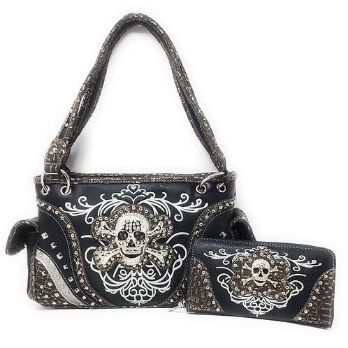 Western Skull Bones Skeleton Purse Handbag Concealed Carry Gun Pocket / Wallet