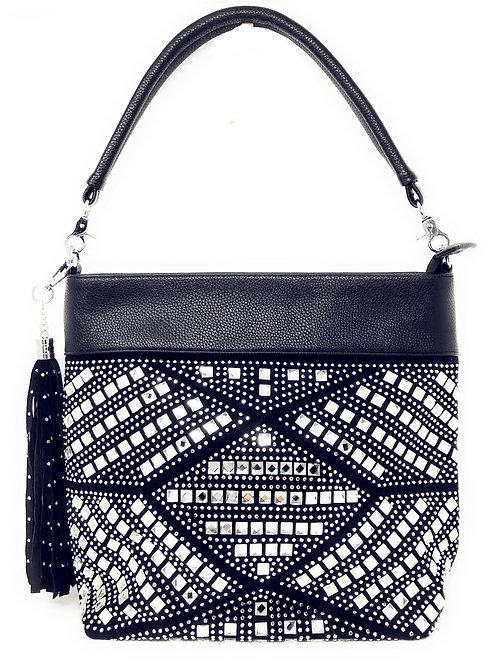 Texas West Womens Fashion Rhinestone Tassel Bling Bling Conceal Carry Hobo Bag