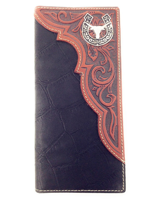 Premium Genuine Leather Longhorn Horseshoe Mens Long Wallet Checkbook in 2 Color