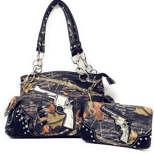 Western Camo Pistol Gun Bullets Rhinestone Handbag With Matching Wallet