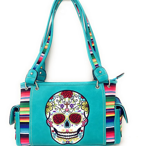 Texas West Western Sugar Skull Rainbow Concealed Carry Handbag Purse