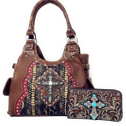Rhinestone Studded Cross Flower Concealed Carry Shoulder Handbag Purse /Wallet