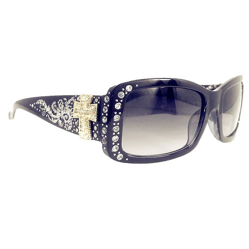Womens Sunglass with Antiqued Ornate Cross And Rhinestones UV400 Lens